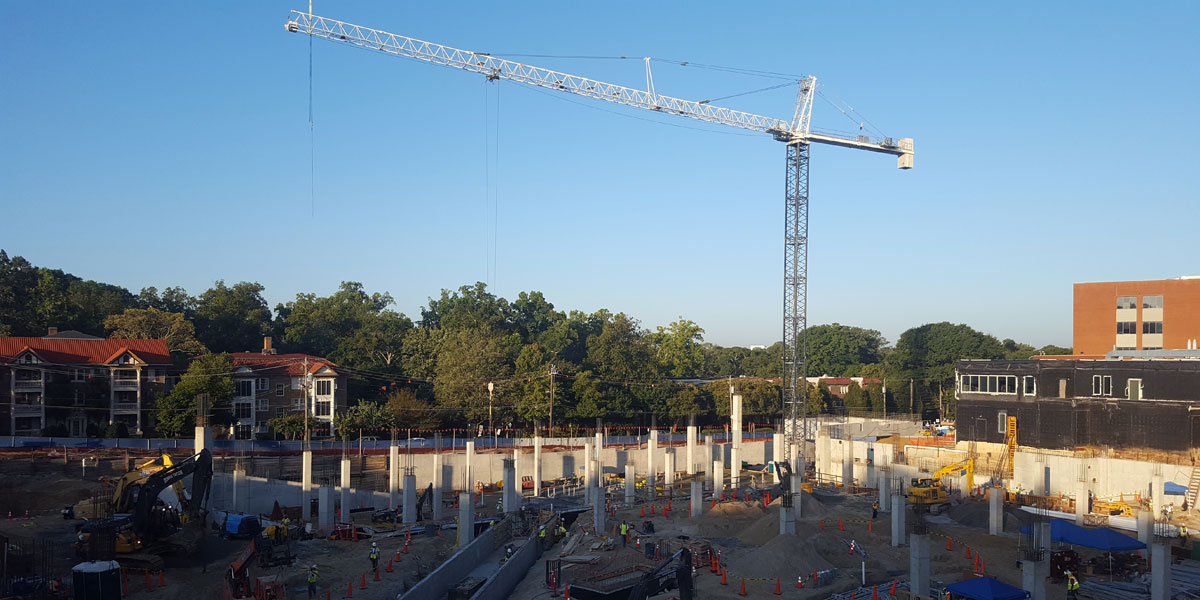 The foundation is currently being constructed at the new Piedmont Medical Building
